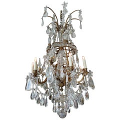 French 1950s Crystal and Glass Marie Therese Chandelier with Twelve-Light