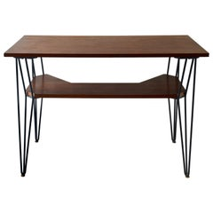 French 1950s Desk with Teak Top and Black Metal Legs