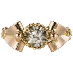 French 1950s Diamond 18 Karat Rose Gold Platinum Retro Ring