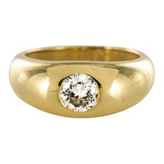 French 1950s Diamond 18 Karat Yellow Gold Bangle Ring
