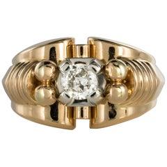 French 1950s Diamond 18 Karat Yellow Gold Retro Tank Ring