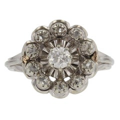 French 1950s Diamonds 18 Karat White Gold Cluster Ring