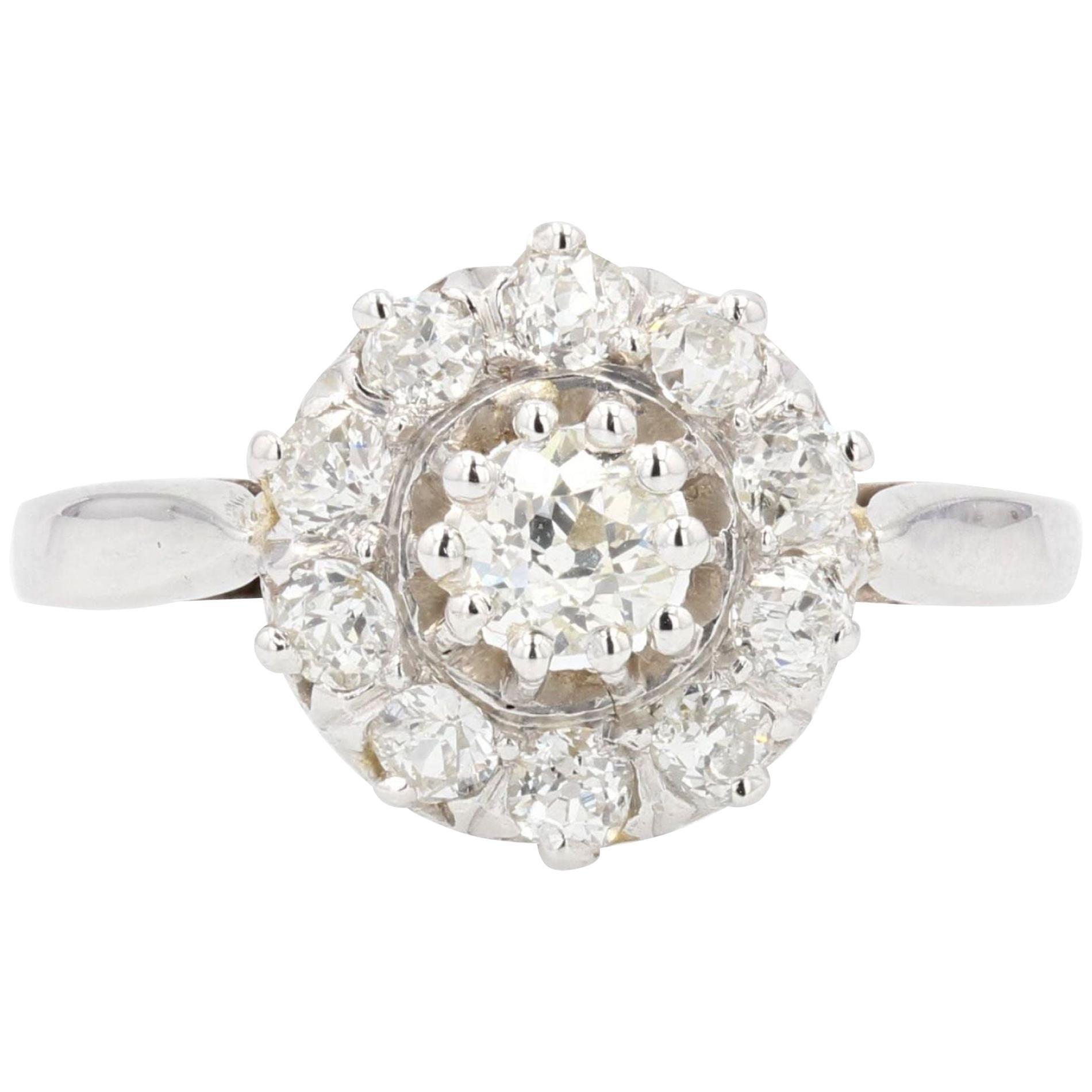 French 1950s Diamonds 18 Karat White Gold Daisy Ring
