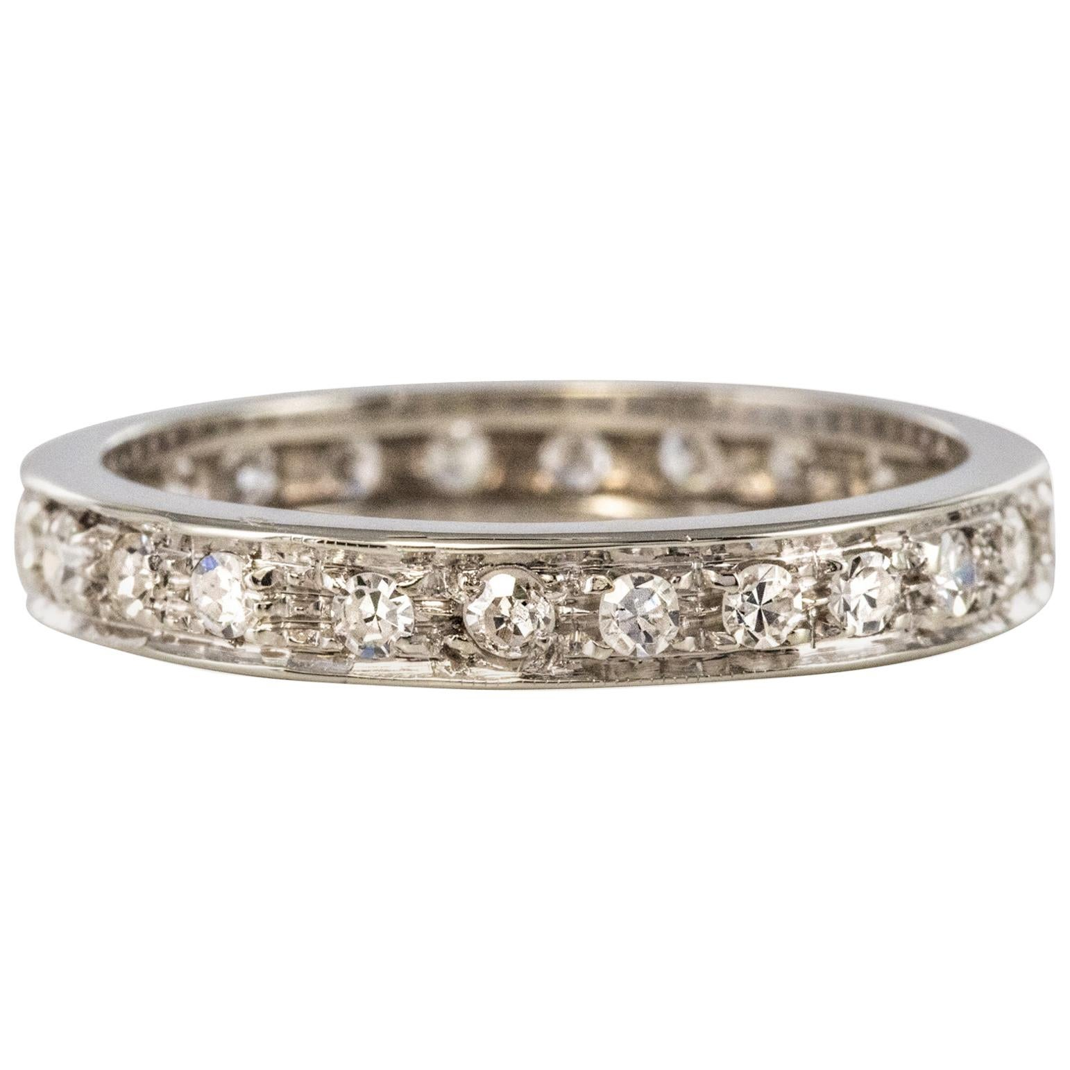 French 1950s Diamonds 18 Karat White Gold Wedding Ring