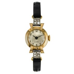 French 1950s Diamonds 18 Karat Yellow Gold Women Watch