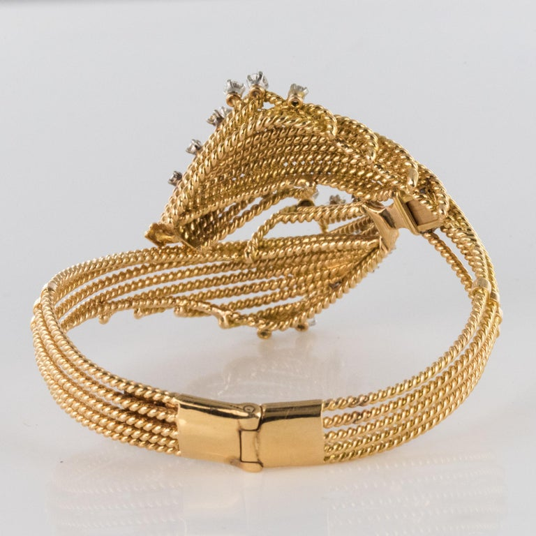 French 1950s Diamonds Platinum 18 Karat Yellow Gold Thread Bracelet For Sale 6
