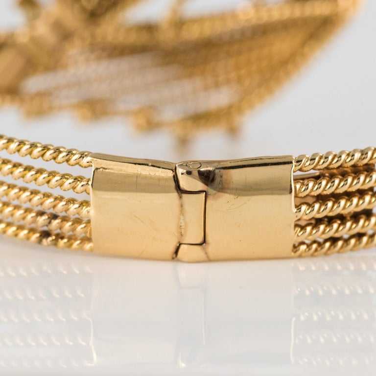 French 1950s Diamonds Platinum 18 Karat Yellow Gold Thread Bracelet For Sale 8