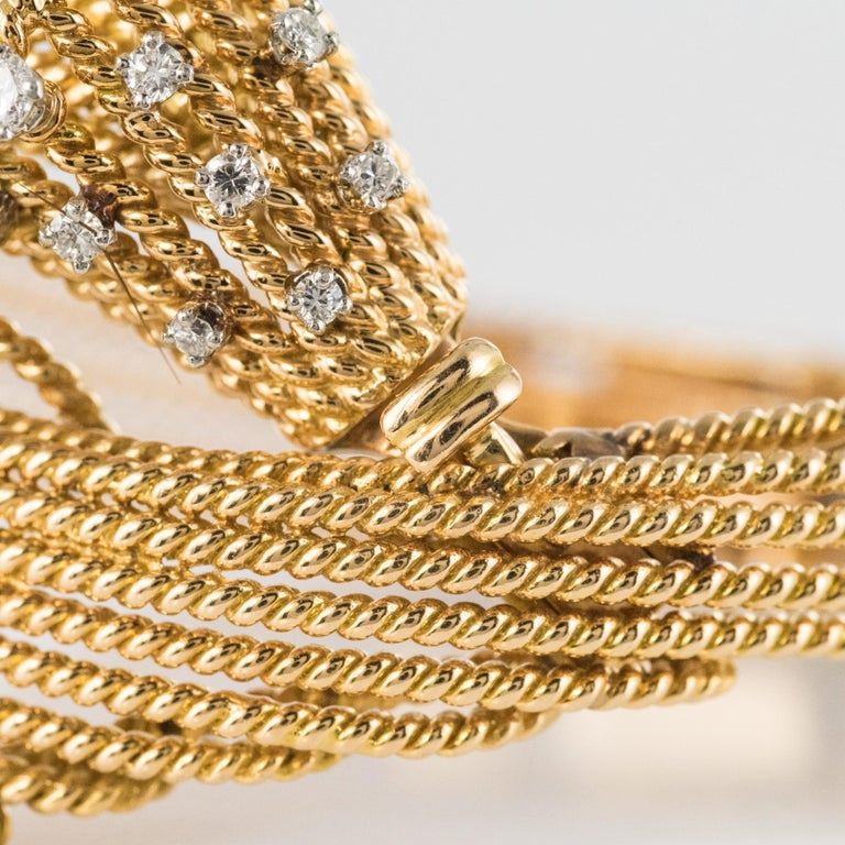 French 1950s Diamonds Platinum 18 Karat Yellow Gold Thread Bracelet For Sale 9