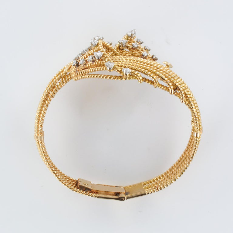 French 1950s Diamonds Platinum 18 Karat Yellow Gold Thread Bracelet For Sale 10