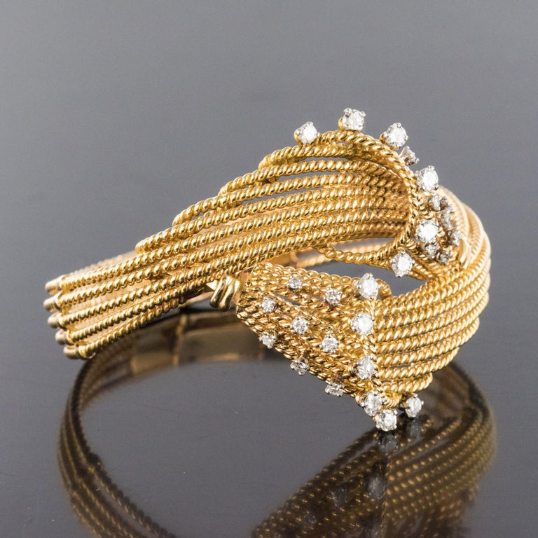 Retro French 1950s Diamonds Platinum 18 Karat Yellow Gold Thread Bracelet For Sale