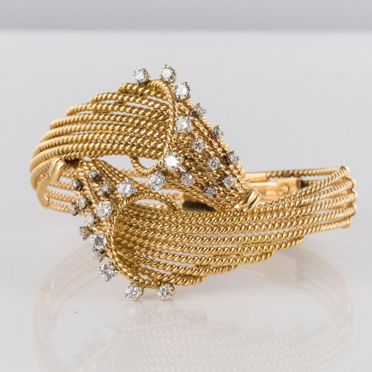 Women's French 1950s Diamonds Platinum 18 Karat Yellow Gold Thread Bracelet For Sale