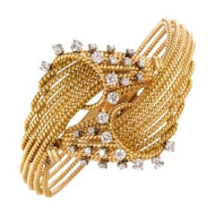 French 1950s Diamonds Platinum 18 Karat Yellow Gold Thread Bracelet