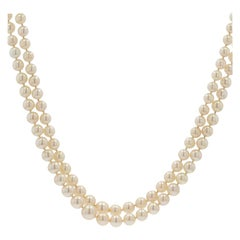 French 1950s Double Row Cultured Falling Pearl Necklace