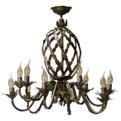 French 1950s Gilt Iron Chandelier