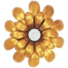 French 1950s Gilt Iron Floral Sunburst Ceiling Light Fixture with Frosted Glass
