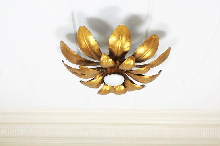 French, 1950s Gilt Iron Flower Shaped Sunburst Ceiling Flush Mount Light Fixture For Sale 3