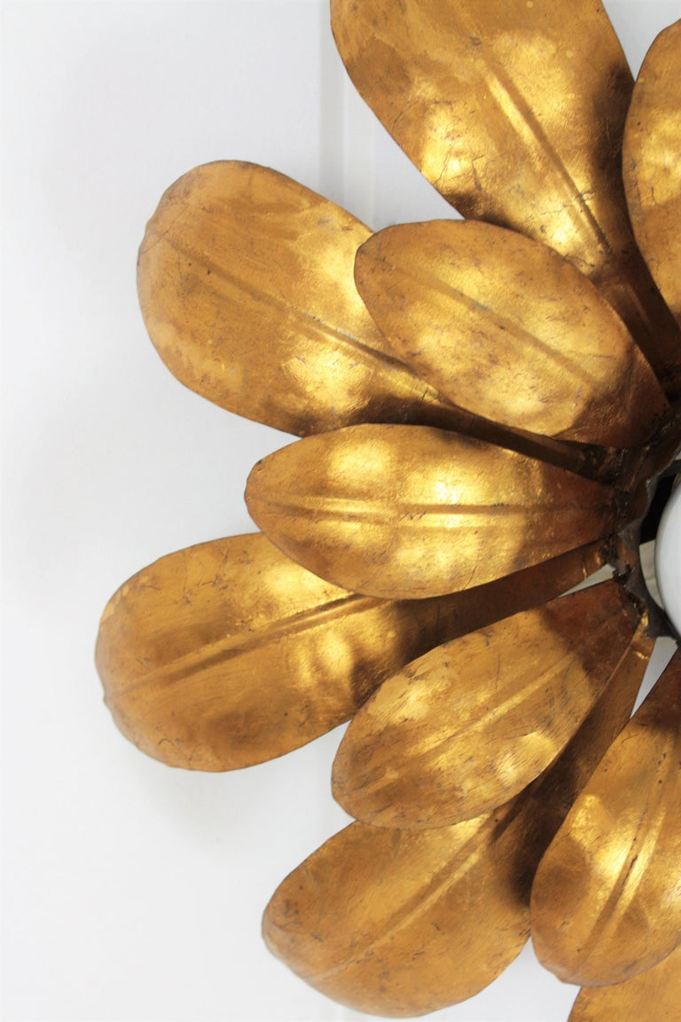 French, 1950s Gilt Iron Flower Shaped Sunburst Ceiling Flush Mount Light Fixture For Sale 5