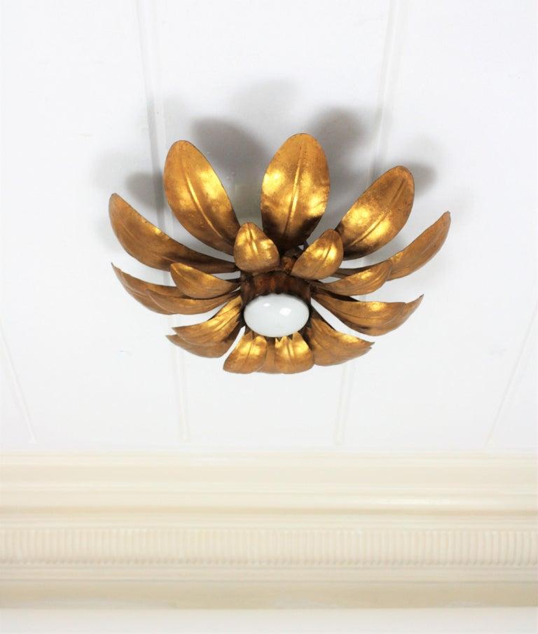 Mid-Century Modern French, 1950s Gilt Iron Flower Shaped Sunburst Ceiling Flush Mount Light Fixture For Sale