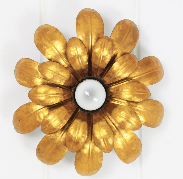 French, 1950s Gilt Iron Flower Shaped Sunburst Ceiling Flush Mount Light Fixture For Sale 1