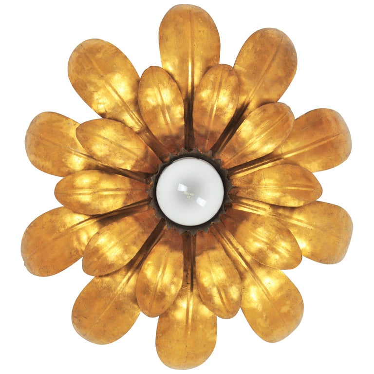 French, 1950s Gilt Iron Flower Shaped Sunburst Ceiling Flush Mount Light Fixture For Sale