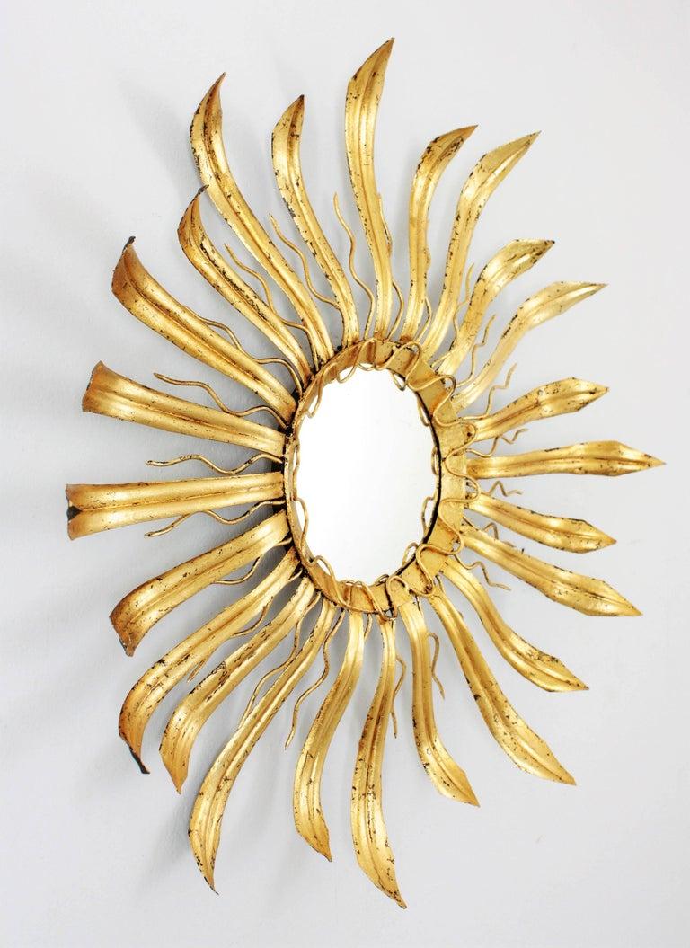 Brutalist Mid-Century Modern Gilt Iron Hand-Hammered Sunburst Mirror, France 1950s For Sale