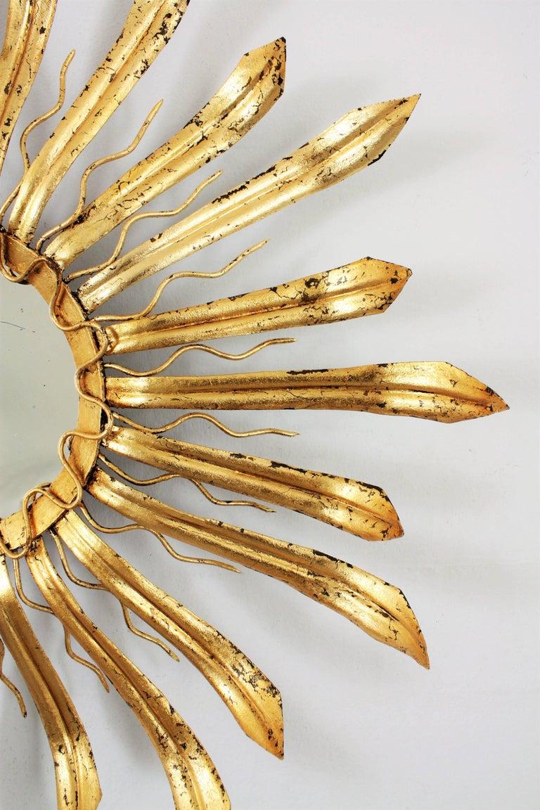 20th Century Mid-Century Modern Gilt Iron Hand-Hammered Sunburst Mirror, France 1950s For Sale