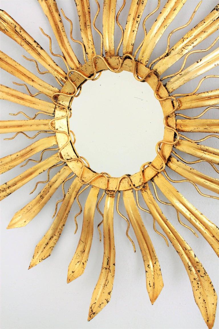 Mid-Century Modern Gilt Iron Hand-Hammered Sunburst Mirror, France 1950s For Sale 1