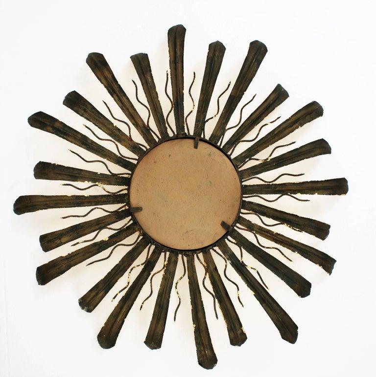 Mid-Century Modern Gilt Iron Hand-Hammered Sunburst Mirror, France 1950s For Sale 3