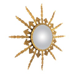 French 1950s Gilt Metal Hollywood Regency Convex Sunburst Mirror