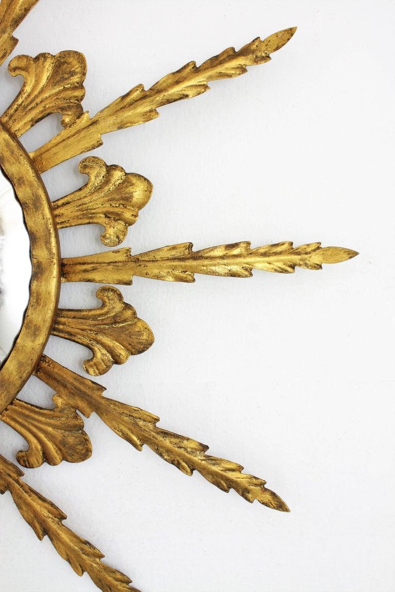 French 1950s Gilt Metal Hollywood Regency Sunburst Convex Mirror For Sale 1