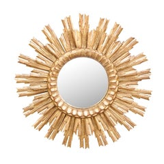 French 1950s Giltwood Two-Layered Sunburst Mirror with Convex Mirror Plate