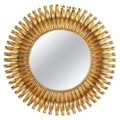 French 1950s Gold Leaf Gilt Iron Hand-Hammered Eyelash Round Sunburst Mirror