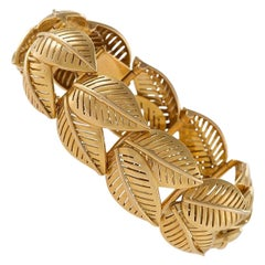 French 1950s Gold Leaf Link Bracelet