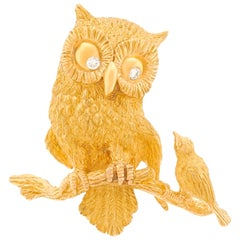 French 1950s Gold Owl and Bird Brooch