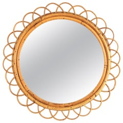 French 1950s Handcrafted Rattan and Bamboo Flower Shaped Round Wall Mirror