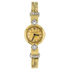French 1950s Jaeger Le Coultre Diamonds 18 Karat Yellow Gold Women Watch