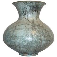"French 1950s La Borne Ceramics Large Gray Enameled Stoneware ""Graffiti"" Vase"