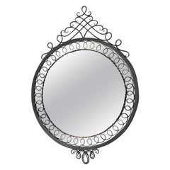 French 1950s Large Rounded Cast Iron Mirror