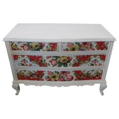 French 1950s Louis XV Style Painted Pine and Fabric Chest with 4 Drawers