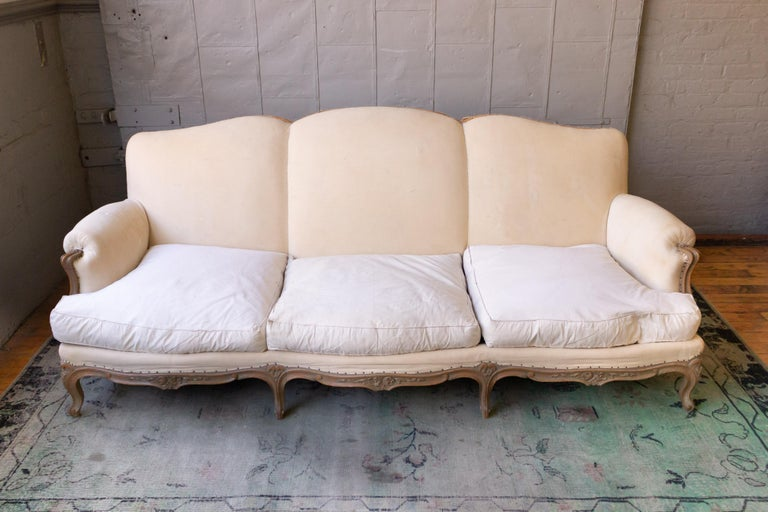 Large French 1950s Louis XV Style Sofa In Good Condition For Sale In Long Island City, NY