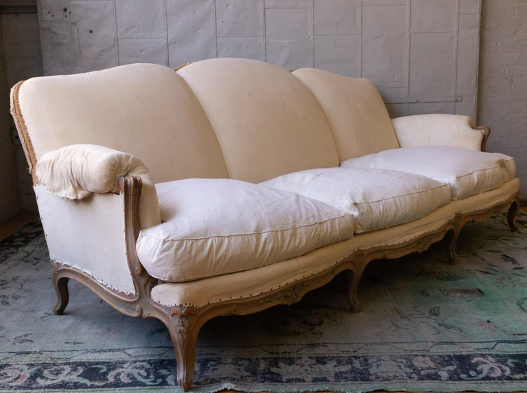Mid-20th Century Large French 1950s Louis XV Style Sofa For Sale