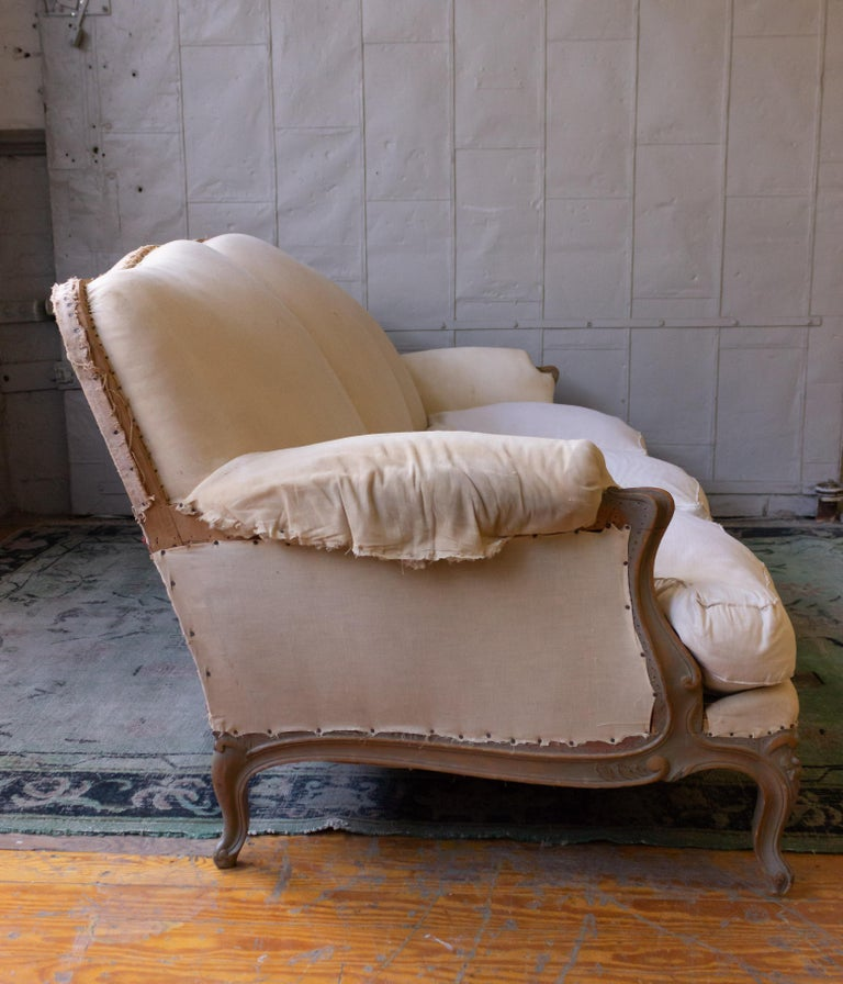 Wood Large French 1950s Louis XV Style Sofa For Sale