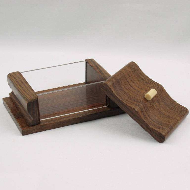 Mid-Century Modern French 1950s Modernist Rosewood and Lucite Decorative Lidded Box For Sale