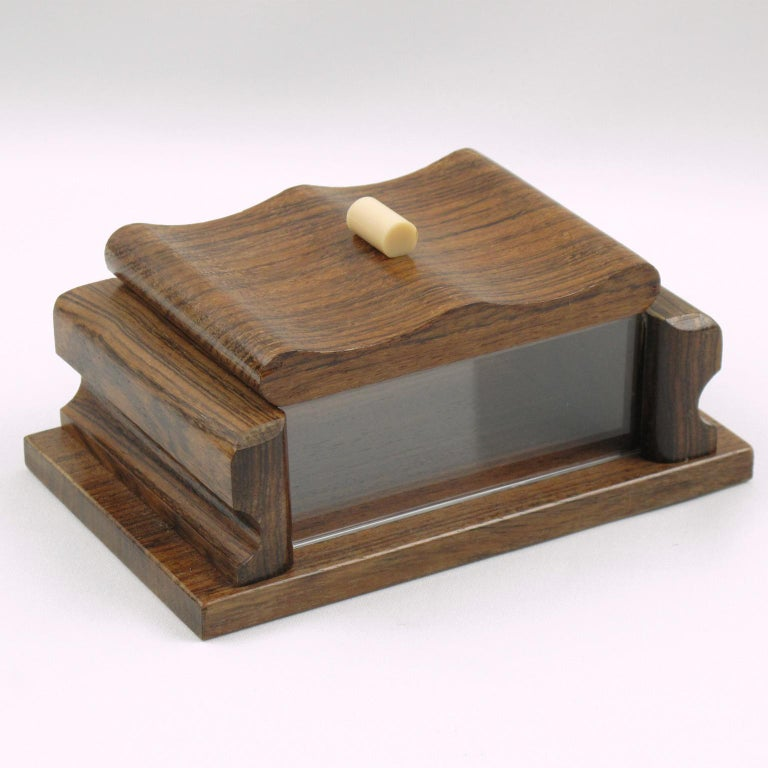 Acrylic French 1950s Modernist Rosewood and Lucite Decorative Lidded Box For Sale