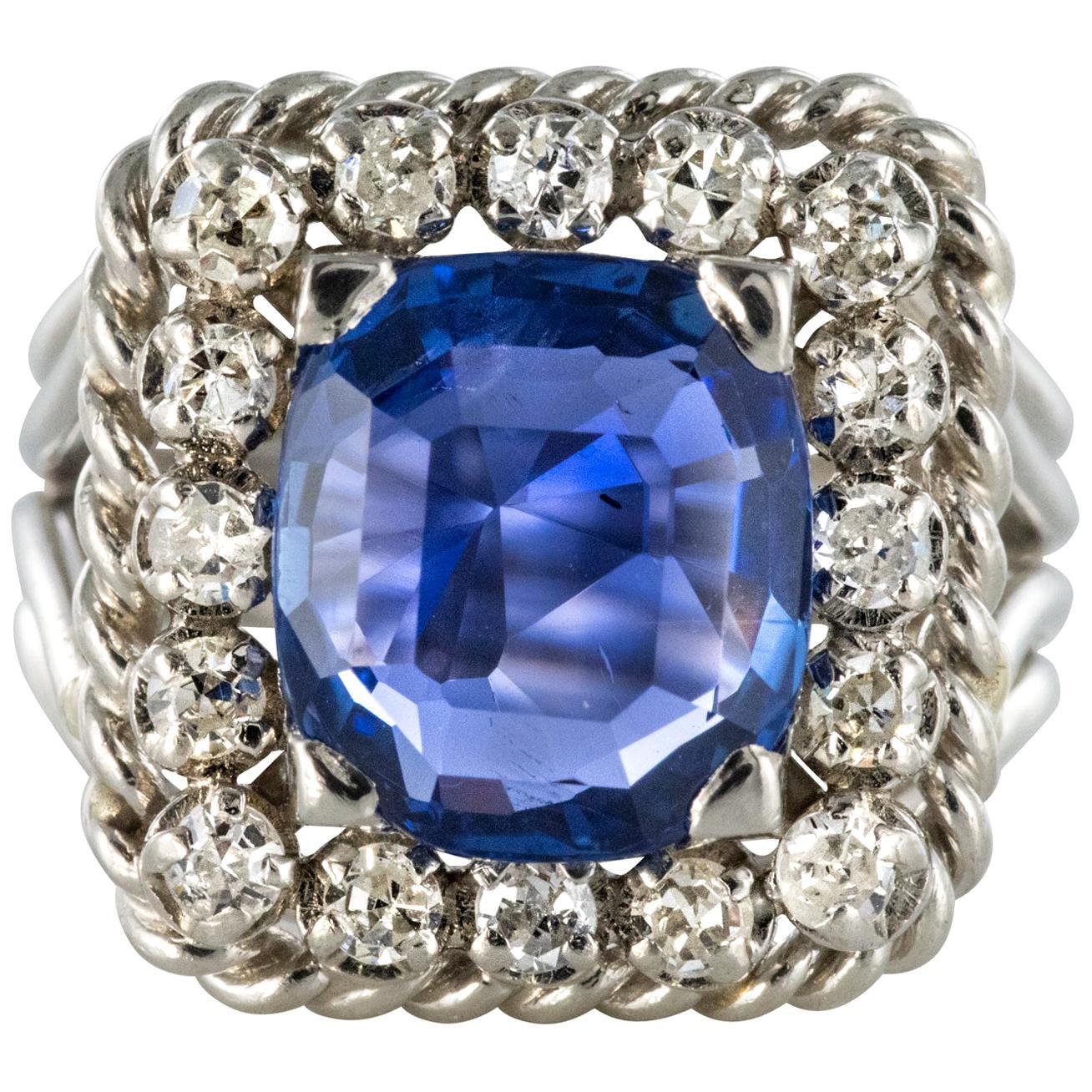 French 1950s Natural Cushion Cut Ceylon Sapphire Diamonds Platinum Ring