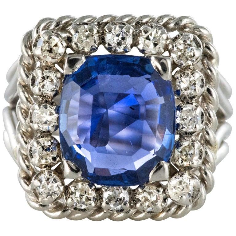 French 1950s Natural Cushion Cut Ceylon Sapphire Diamonds Platinum Ring For Sale