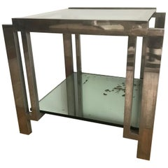 French 1940s Nickel and Glass Side Table in the manner of Jacques Adnet