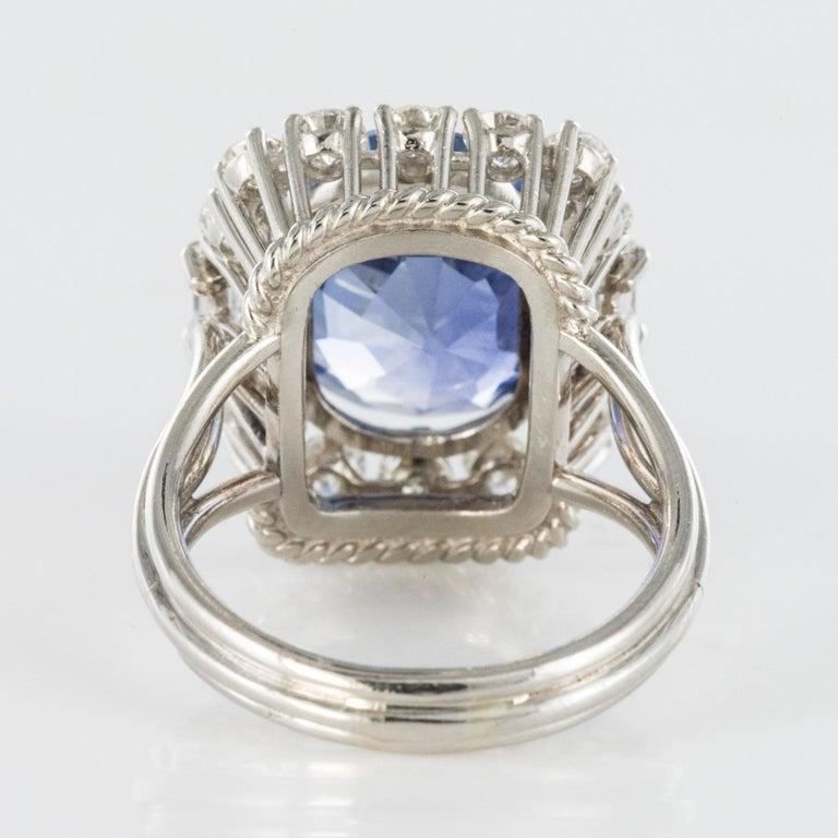 French 1950s No Heat Ceylon Cushion Cut Sapphire Diamonds Platinum Cocktail Ring For Sale 10