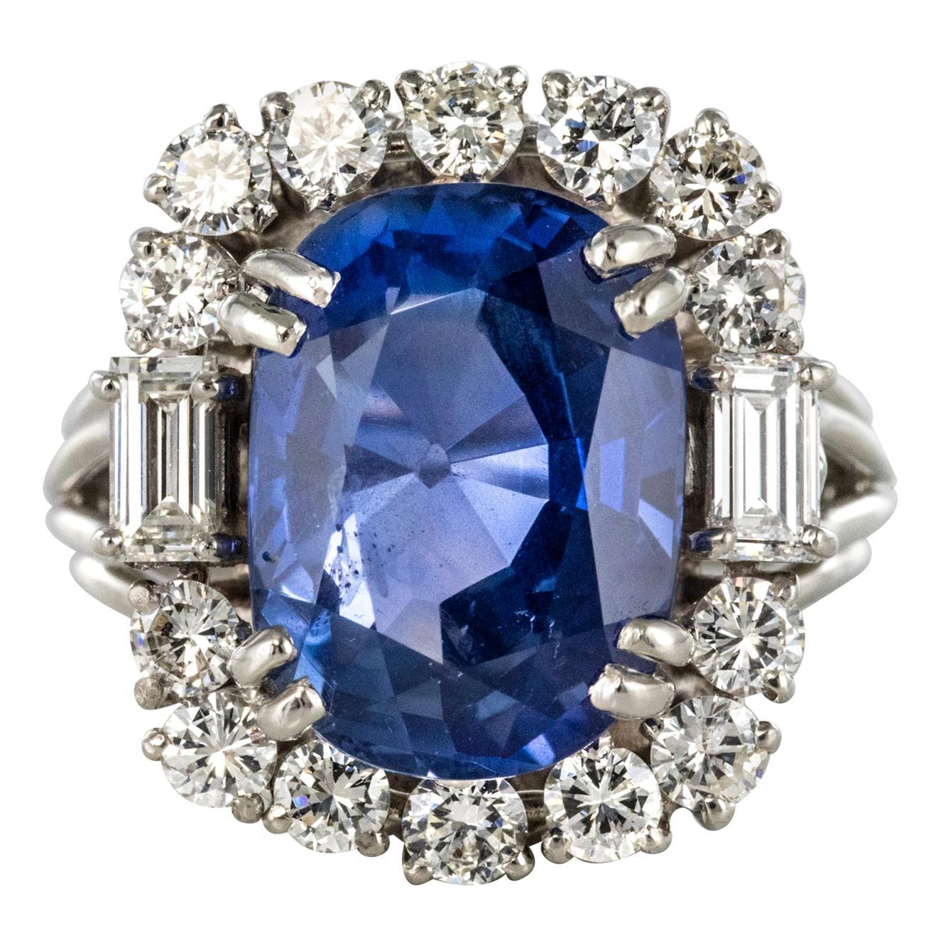 French 1950s No Heat Ceylon Cushion Cut Sapphire Diamonds Platinum Cocktail Ring