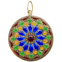 French 1950s Notre Dame Window Enamel 18 Karat Yellow Gold Pendant